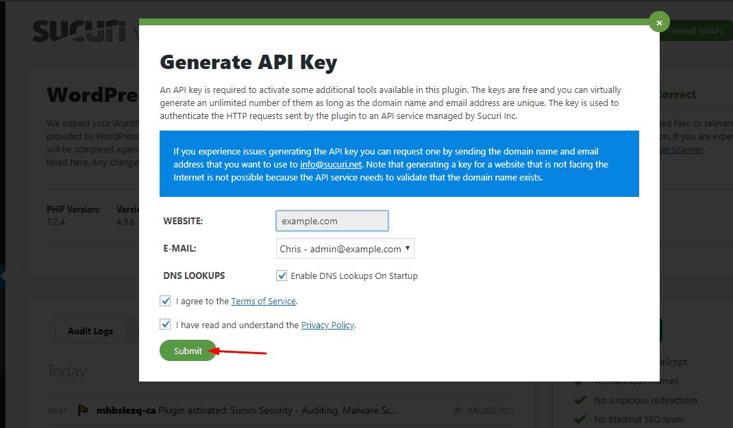 api key generated for sucuri