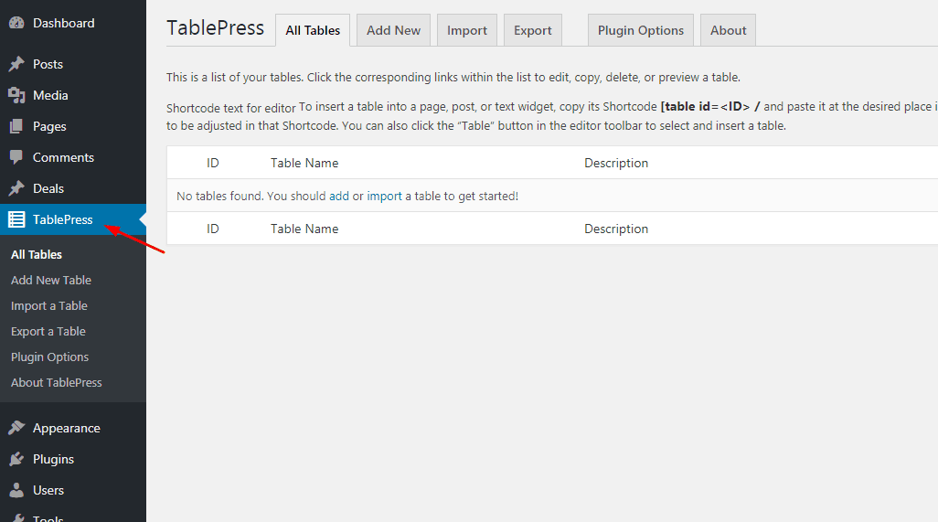 tablepress wordpress plugin settings