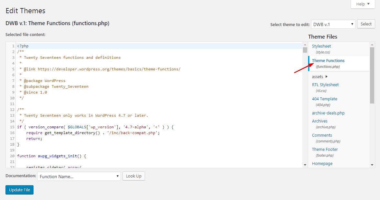 wordpress theme functions file editor