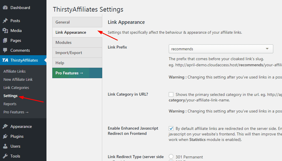 thirstyaffiliates plugin link appearance settings