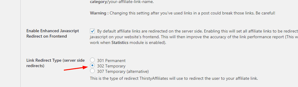thirstyaffiliates redirection type