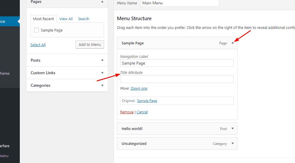 Add Title Tag on WordPress Menus