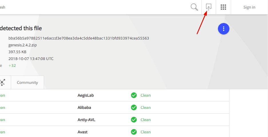 upload file to virustotal website