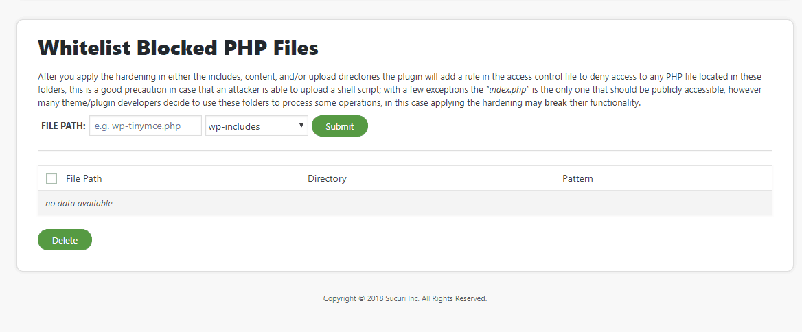 whitelist php files from sucuri hardening
