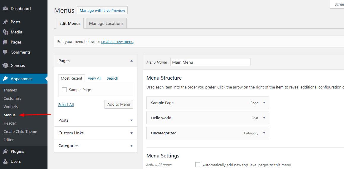 wordpress menus section
