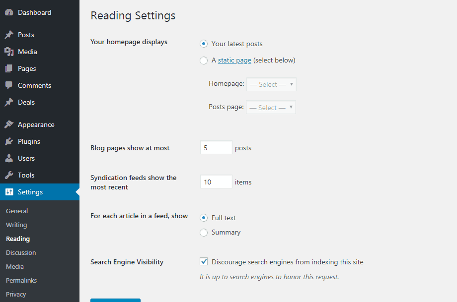 wordpress reading settings default