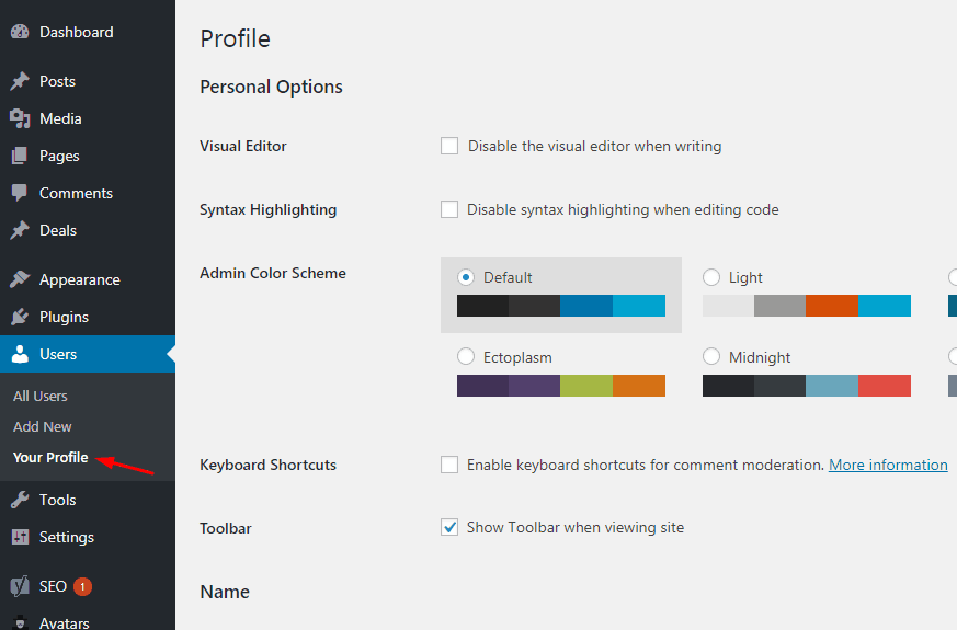 wordpress profile section