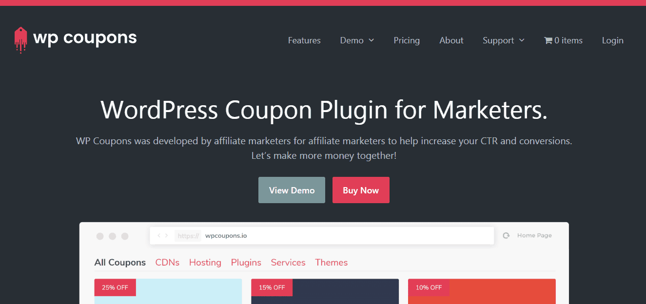 wp coupons plugin homepage
