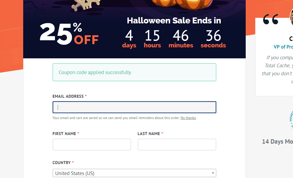 wp rocket halloween coupon validated