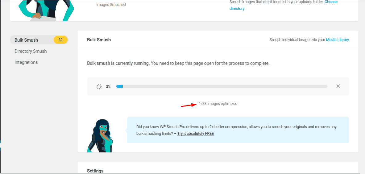 wp smush plugin optimizing