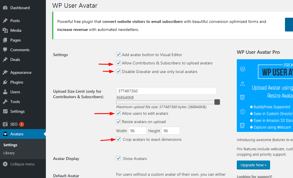 contributor settings on wp user avatar