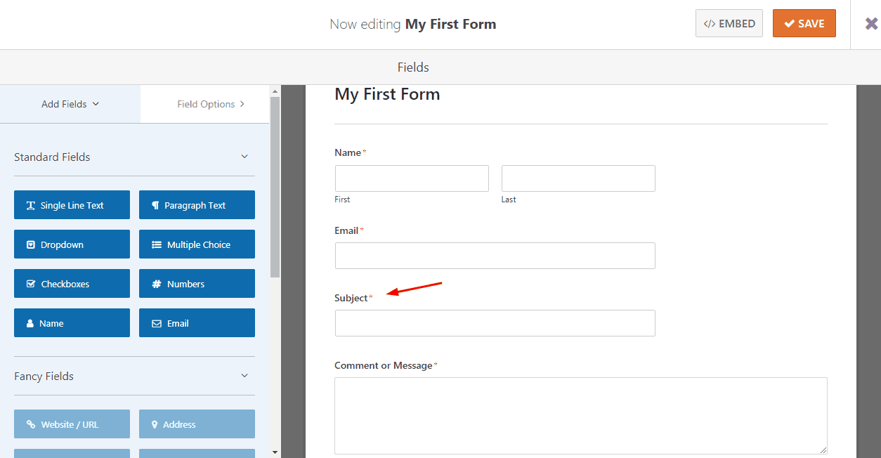 adding subject filed in WPForms