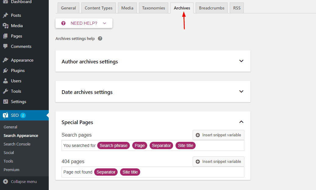 yoast seo archives settings