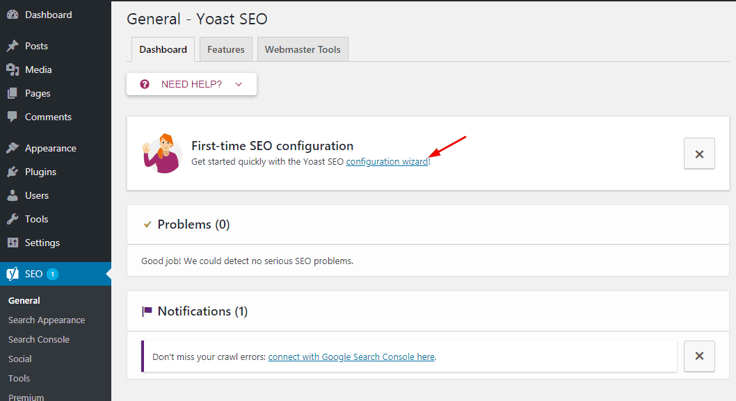 yoast seo plugin configuration wizard