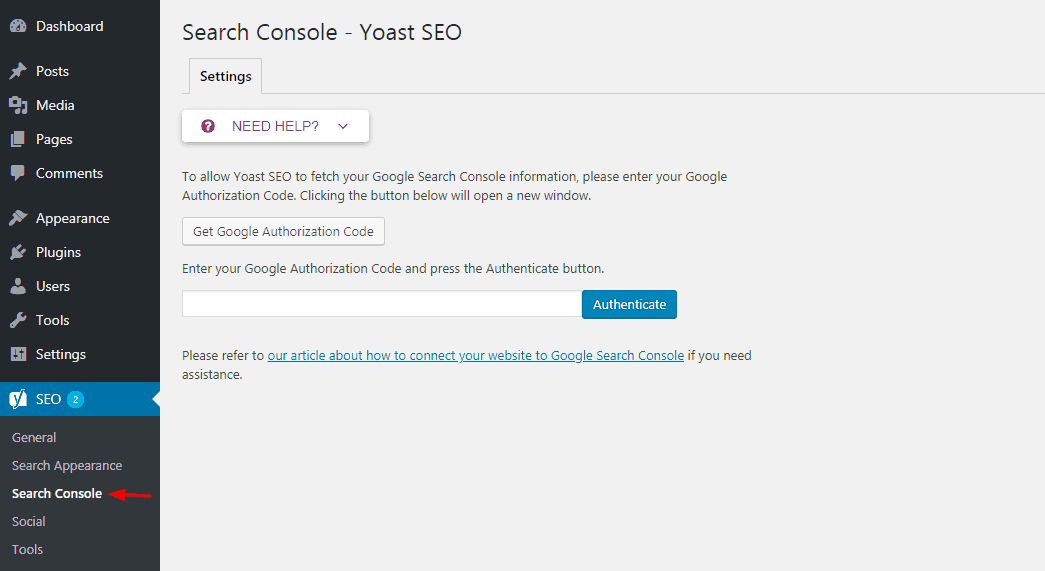 yoast search console settings