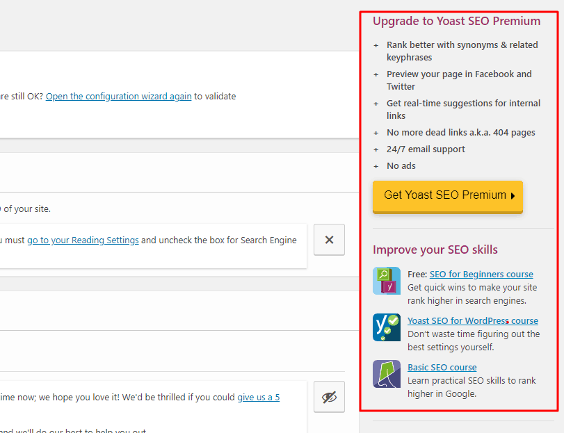 ads in Yoast SEO plugin