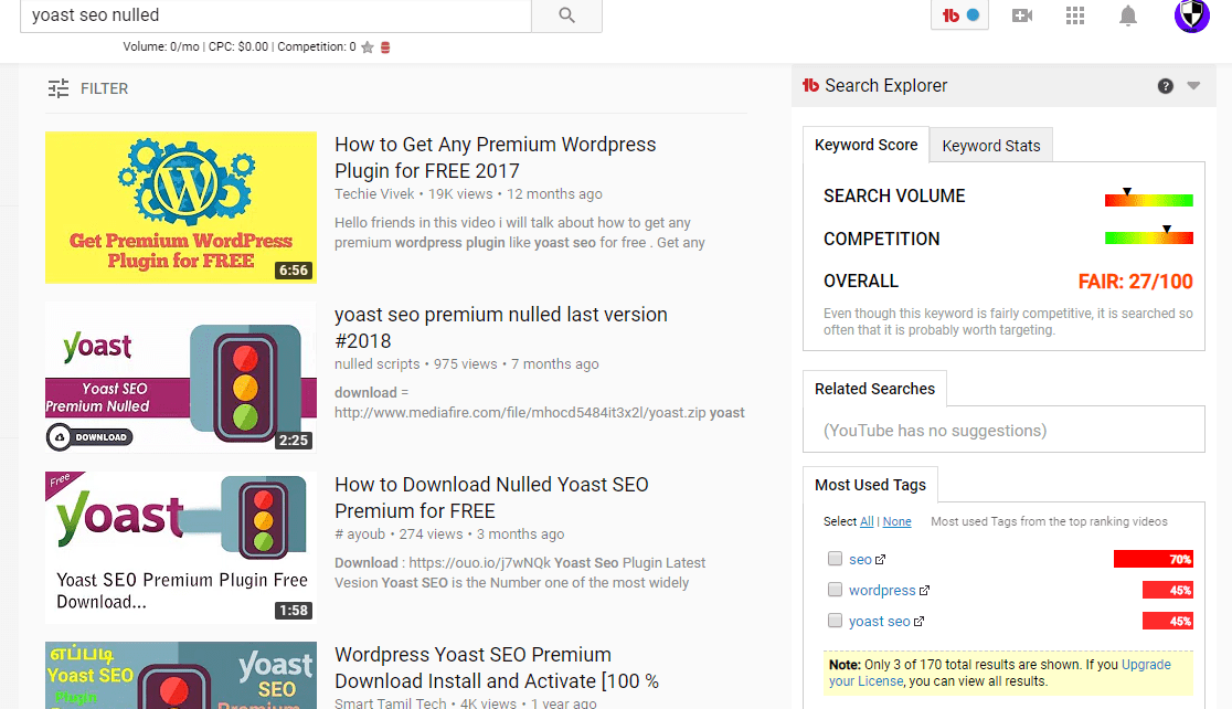 yoast seo nullled search results in YouTube