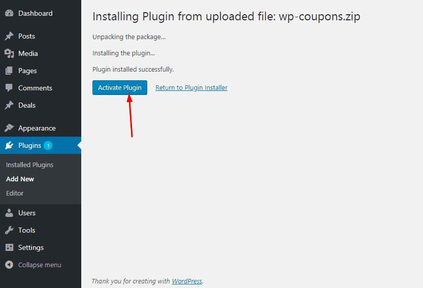 wpcoupons.io plugin activation