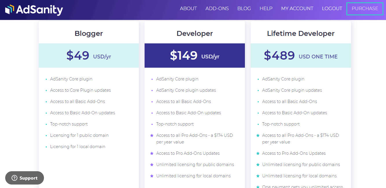 adsanity wordpress plugin pricing