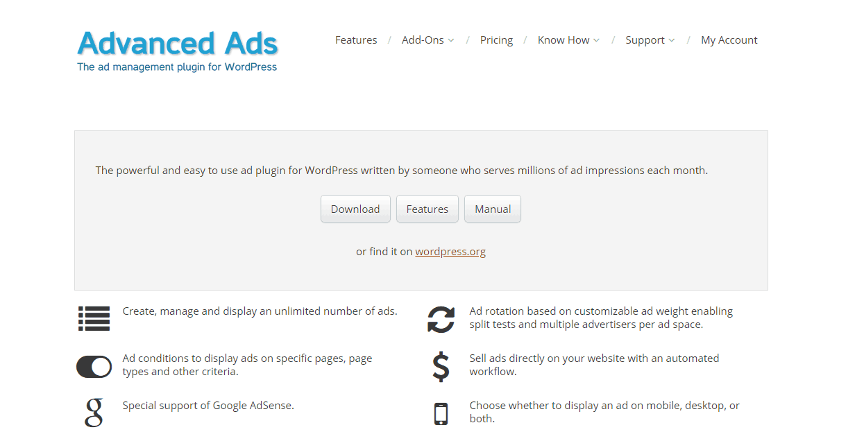 wp advanced ads plugin