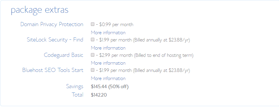 addons for bluehost hosting