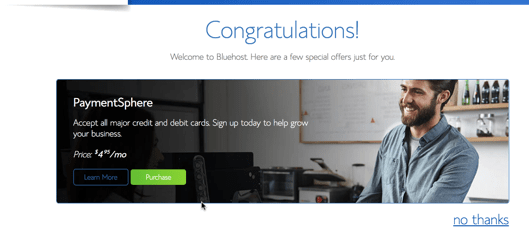 bluehost hosting purchased
