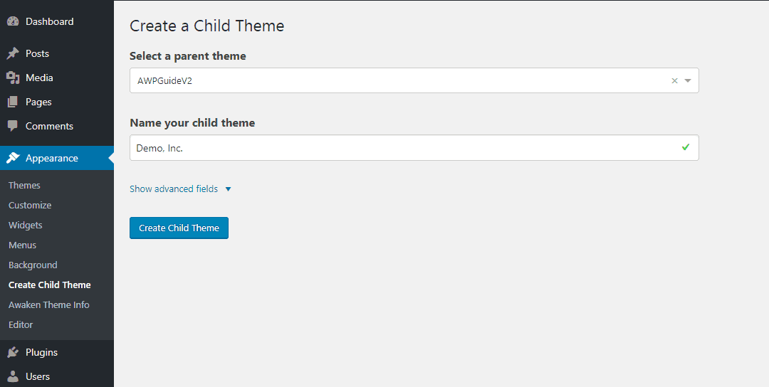 name wordpress child theme