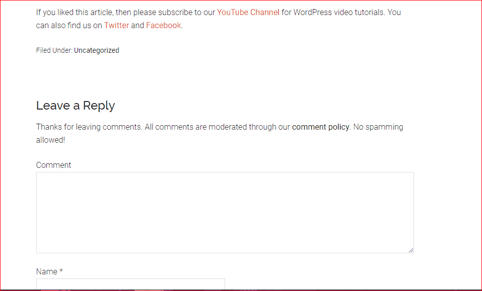 new comment policy text