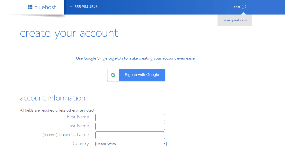 create a bluehost account