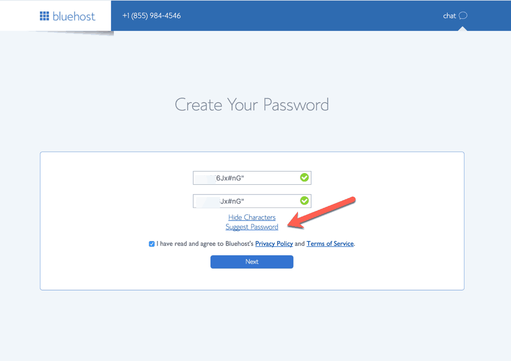 create strong bluehost password