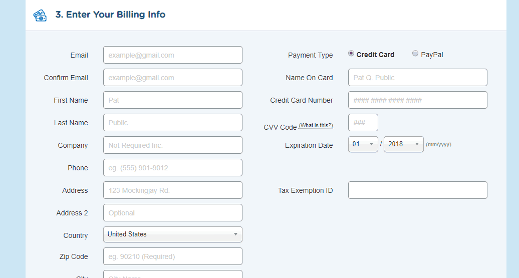 billing info in hostgator