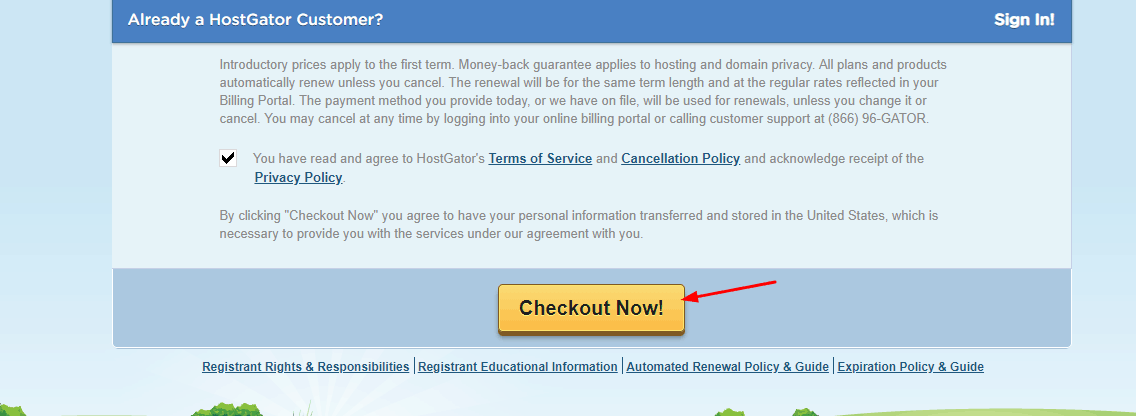 checkout hostgator