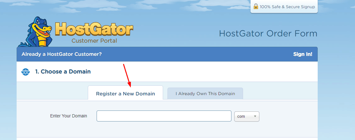 hostgator domain name registration