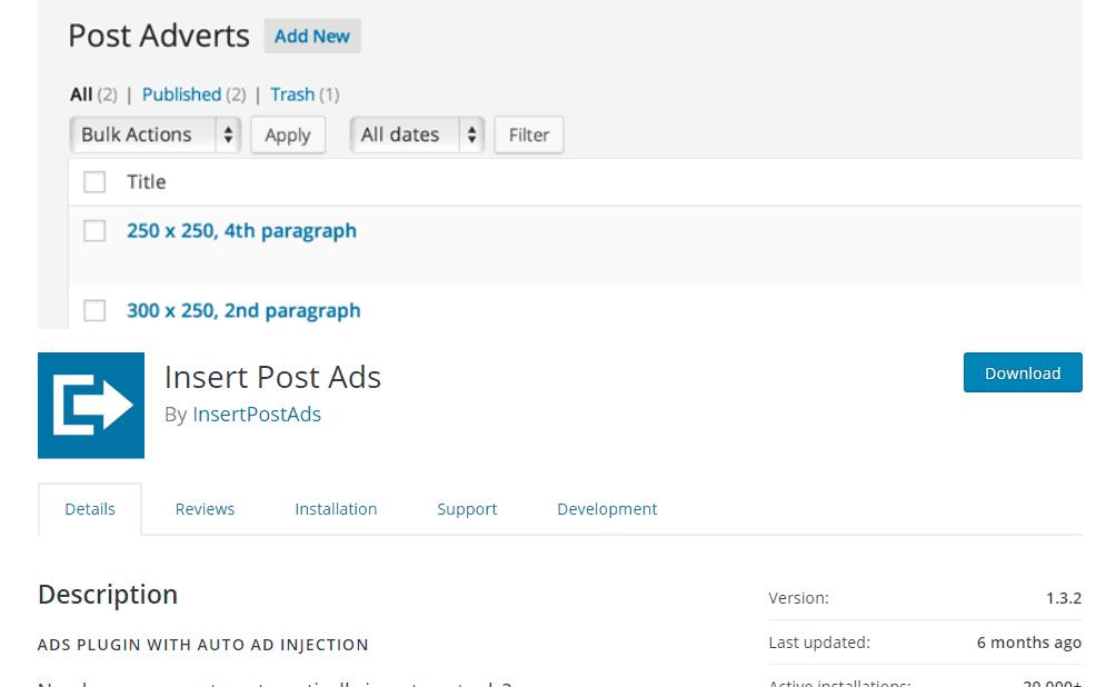 insert post ads plugin in blueprint