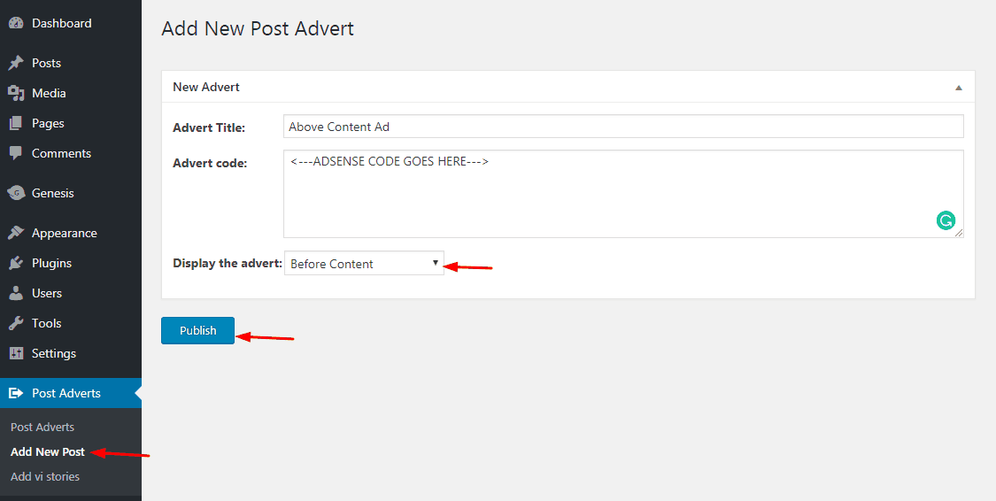 insert post ads plugin