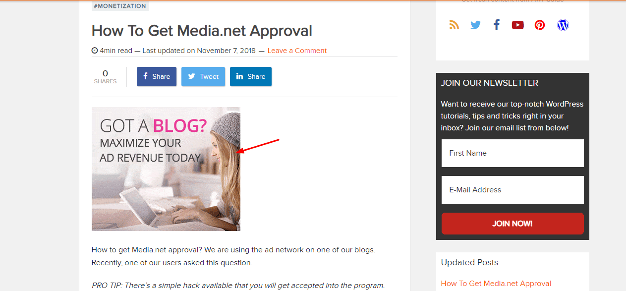 media.net ad in AWPGuide Blog