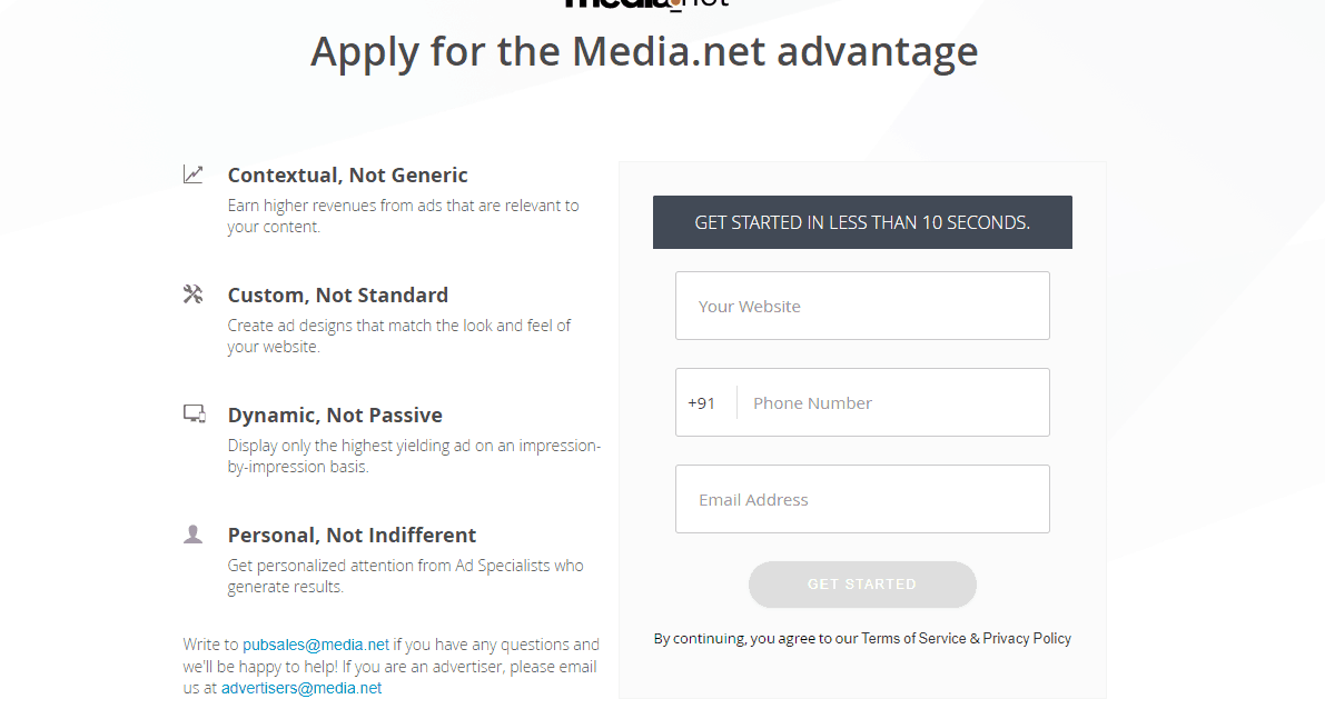 Media.net registration page