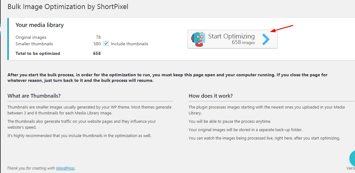 shortpixel start optimizing