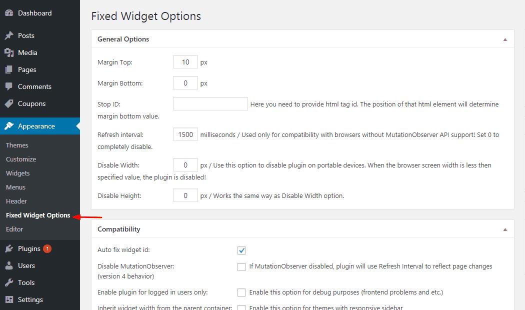 fixed widget plugin settings