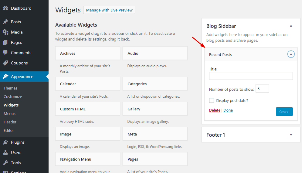 wordpress recent posts widget added