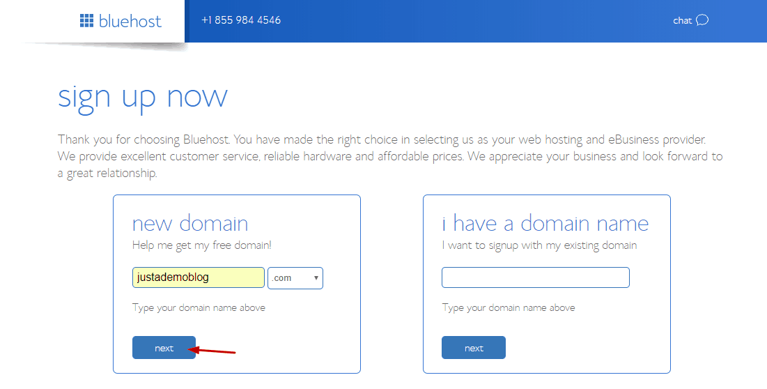 search for free .com domain from bluehost