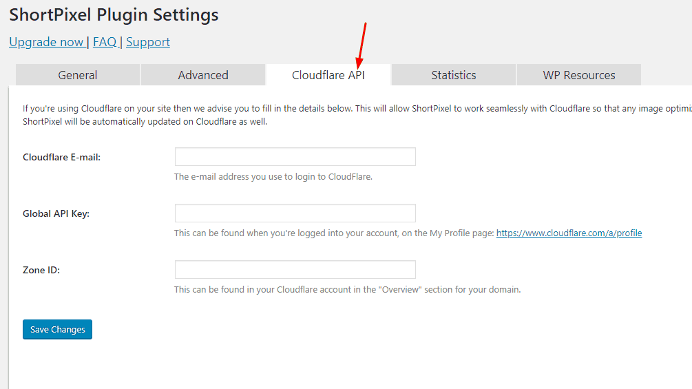 cloudflare integration with shortpixel
