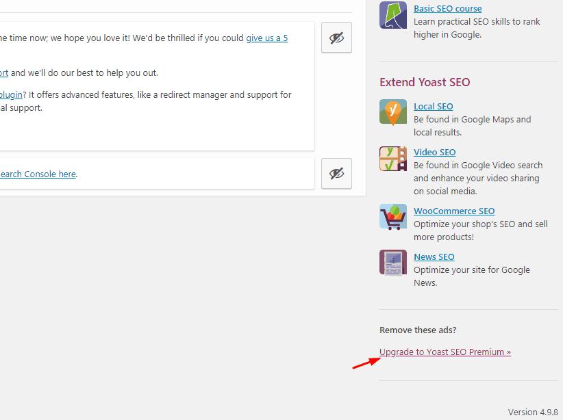 yoast free ads in plugins