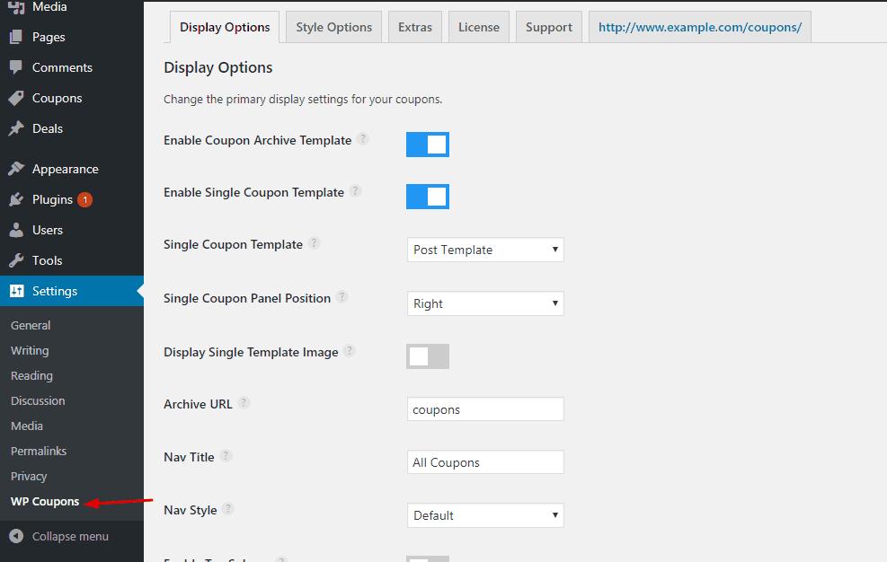 wp coupons plugin settings