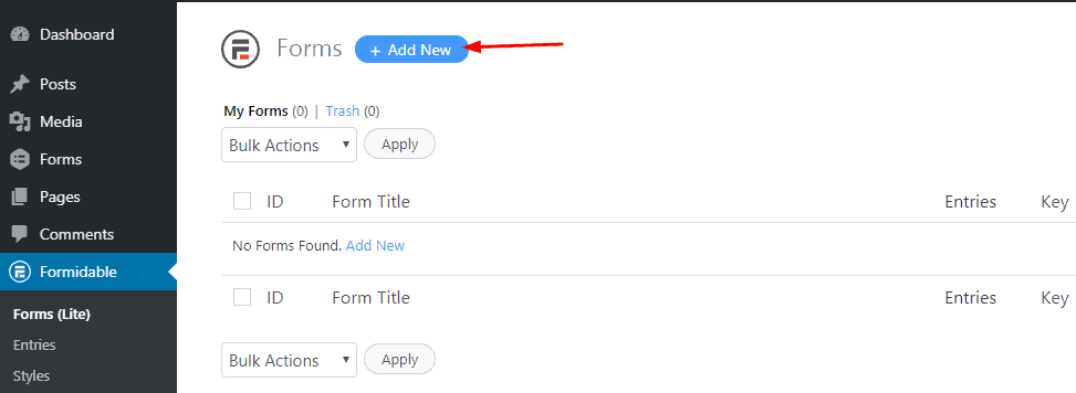 add new formidable forms form