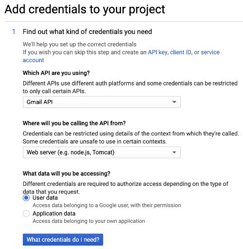 add gmail credentials