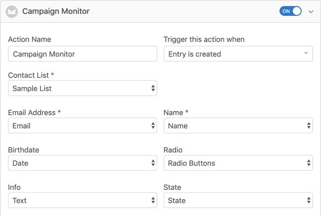 formidable forms campaign monitor