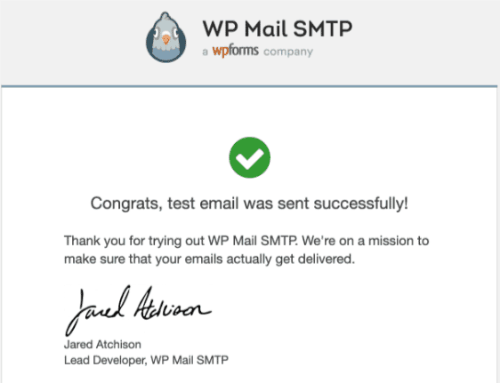 wp mail smtp mail successful