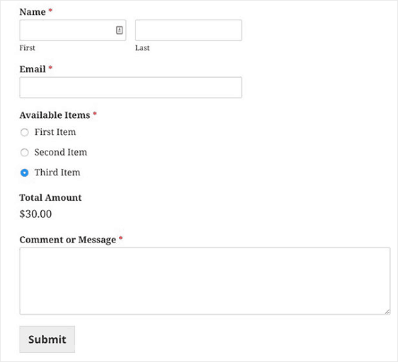 wpforms order and billing form