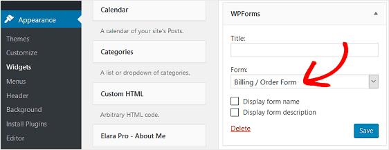 wpforms widget